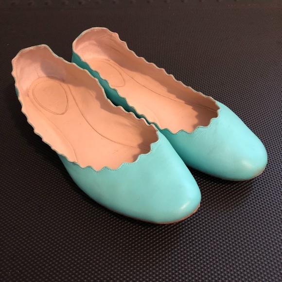 cf466a9d2 Chloe Shoes   Lauren Scalloped Flats Size 375 Teal   Poshmark